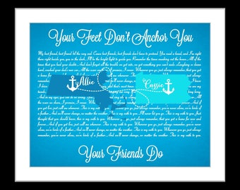 Cute gifts for best friends, unique friendship quote map most popular gifts custom picture friend birthday gift personalized present print