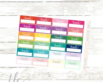 Work Multi-Color Functional Planner Stickers