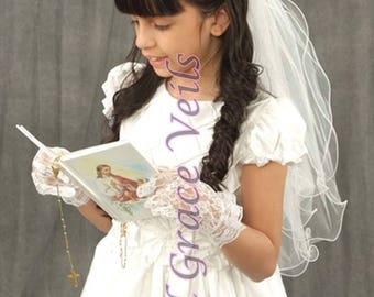 First Communion Veil (t) White on Comb/Barrette