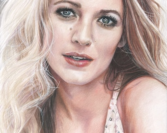 Colored Pencil Drawing Print of Blake Lively (The Shallows, Age of Adaline, Gossip Girl, Green Lantern)