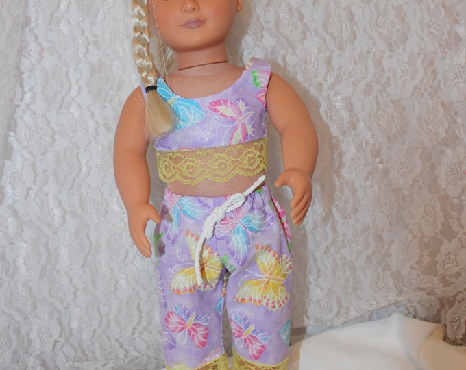 "End of Summer Sale!!! Crop Top,Pants with Ruffle and Shoes. Handmade to fit the American Girl Doll and Other 18"" Doll, FREE SHIPPING"