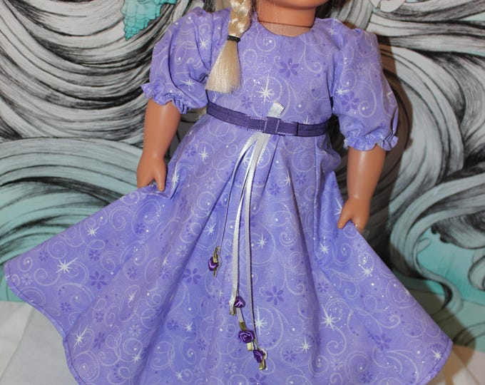 18 Inch Handmade Doll Dress to fit like American Girl, Ready for The Prom/Dance Pretty Long Purple Sparkly Dress with Shoes, FREE SHIPPING