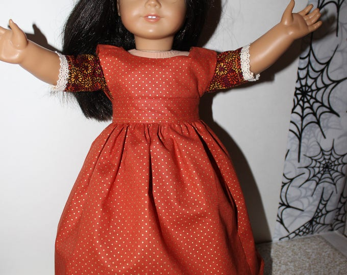 Ready for Thanksgiving, historical Long Dress with Orange , Brown Print, Apron Made for the AG, and other 18 inch Dolls, FREE SHIPPING