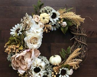 Fall Decor, Fall Wreath, Fall Wreaths for Front Door, Front Door Wreath, Wreath Fall, Fall Door Wreath Pumpkin Wreath, Wheat Wreath