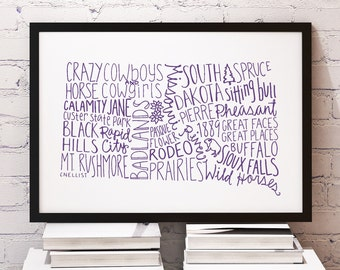 CUSTOM COLOR State of South Dakota Typography Print; Christmas Gift; Wall Art and Decor; Wedding Anniversary Graduation Gift