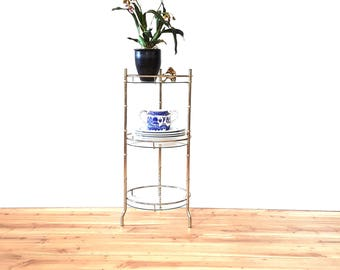 Plant Stand Faux Bamboo Brass Glass ~ Mid Century 3 Tier Stand ~ Vintage Round Side Table/ Tower/ Gold Metal Hollywood Regency Stand