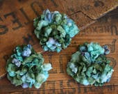 """Small Flower Clips, Teal Floral Hair Clips for Women 1950s Hair Accessories Green Blue Tropical Vintage Pinup Hair Fascinators - """"If by Sea"""""""