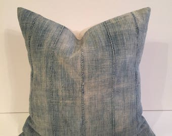 22 inch RARE  VERY Faded african indigo mudcloth pillow cover