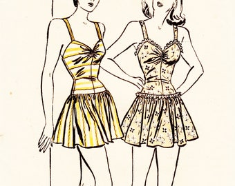 Vintage Swimsuit Sewing Pattern Butterick 3719 Misses' One Piece and Sewing Pattern