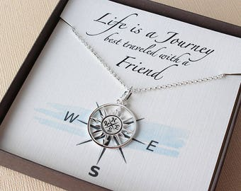 Best friend necklace bff necklace bff gift compass necklace friendship necklace friend compass necklace best friend poem best friend jewelry