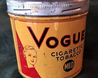 Vogue 1940s Vintage Metal Cigarette Tobacco Tin Canister produced by the Imperial Tobacco Co. of Canada.