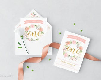 Flora | First Birthday Invitation | Peach, Blush & Gold Foil | Printable | Custom | Personalized | Digital | Girl
