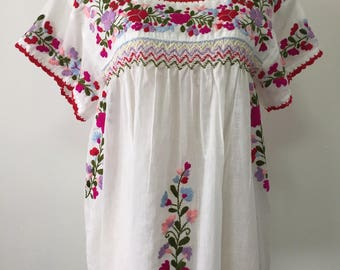 Mexican Embroidered Blouse Short Sleeve White Cotton Top, Boho Blouse