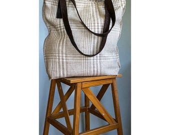 Linen + Leather Tote Bag