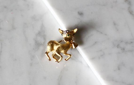 1980s gold deer brooch // 1980s animal brooch// vintage brooch