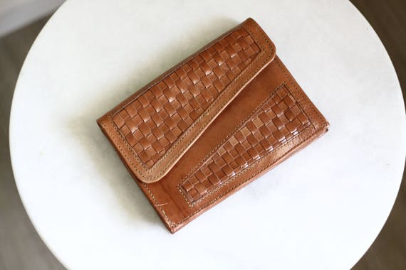 1970s woven leather wallet // 1970s leather wallet // vintage wallet