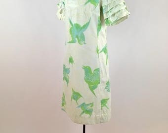 1960s Bullocks Wilshire Swooping Swallows Dress Vintage 1960s Shift Dress Birds Ruffled Sleeves White Cotton Blue Green Yellow White Dress