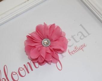 Coral Pink Chiffon Rhinestone Flower Clip