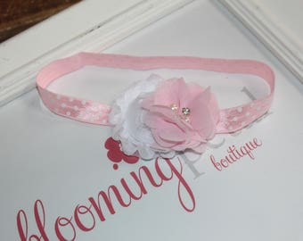 Pink and White Polkadot Shabby Chic Newborn Infant Flower Headband