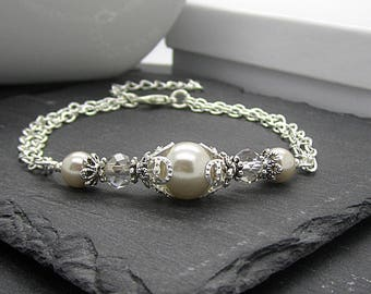 Beige Bridesmaid Bracelet, Beige Wedding Jewellery, Bridesmaid Pearl Sets, Matching Bridal Sets, Taupe Wedding Bracelet, Bridal Party Gift