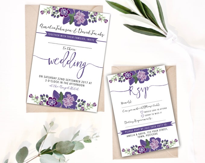 PRINTABLE Wedding Invitation Bundle - Purple Floral Digital Files - Calligraphy Style - Ultra Violet Shades with Foliage 5x7 invites A6 RSVP