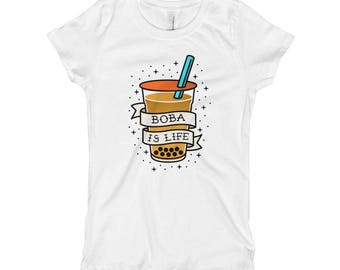 "Boba Shirt ""Boba is Life"" Traditional Tattoo Style Girl's T-Shirt"