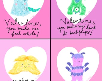 Monster Crush Valentine Cards - Printable File