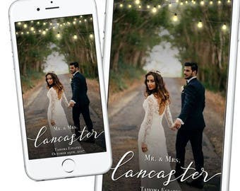 Beautiful Wedding Snapchat Geofilter, Rustic Wedding Geofilter, Autumn Fall Wedding Geofilter Classic Simple Elegant Minimal String Lights