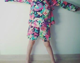 Ensemble kimono bloomers multicolore pixel, combinaison enfant jinbei style japonais cache coeur - le panda volant