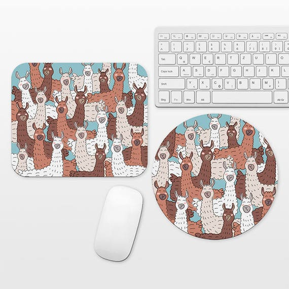 Llama Mouse Pad Unique Fun Mouse Pad Round Rectangle, Alpaca Llama Lover Gift, Desk Accessories Office Decor School Supplies, Llama Mousepad