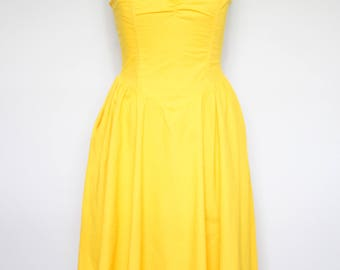 1980s Mustard Cotton Sundress by Sea Suns Large | 80s Strapless Yellow Sundress (L, 40-34-Free)