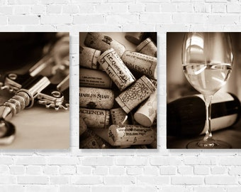Wine Photography Print Set Kitchen Dining Art Decor Winery Set of 3 Wine Corks Wine Glasses California Black & White Sepia Bar Wine Country