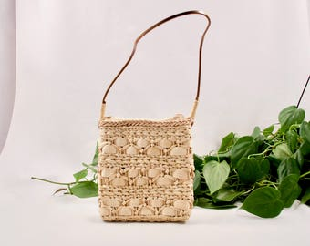 vintage woven purse / woven straw purse / small straw purse / minimalist / textured purse / straw shoulder bag / boho / bohemian / straw bag