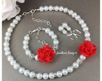 Flower Girl Necklace Flower Girl Jewelry Flower Girls Gift Flower Girl Bracelet Christmas Jewelry for Girl Winter Wedding Christmas Gift