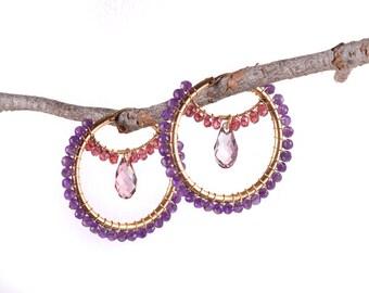 Large Gold Hoop Earrings,Amethyst Hoop Earrings,Amethyst Garnet Earrings,Wire Wrap Hoops,Gift for Her,Statement Earrings,Mothers Day Gift