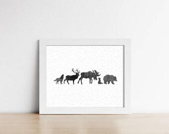 Art Print - Woodland Animals - Minimalist Art Print - Nursery Decor - Horizontal - Wall Art - Buy One Get One Shipped Print - SKU:5012