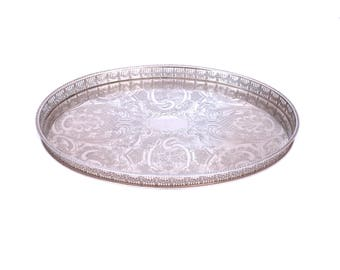Vintage Silver Plated Gallery Tray, Oval Haseler & Restall Sheffield Silver Tray, Chased Silver Serving Tray, Butlers Tray, Downton Abbey