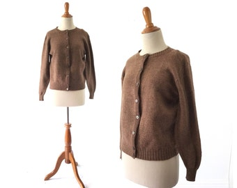 Brown sweater, 1950s sweater, brown cardigan, Women's sweater, vintage sweater, 50s sweater,