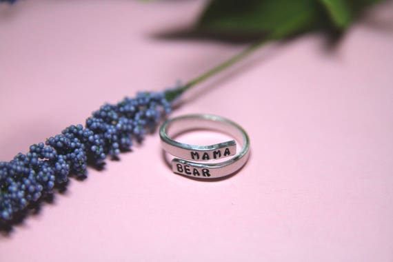 Mama Bear Ring. Mama bear jewelry. Moms Birthday gift. Mother's Day. First Mom Gift.