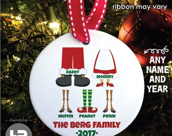 Personalized Family Christmas Ornament - THE ORIGINAL Santa & Elves Family of 5 Ornament with Pet