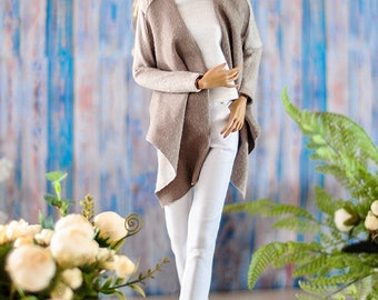 "ELENPRIV light brown suede cardigan for Fashion royalty FR:16 16"" ITBE dolls, Sybarite, Tonner and similar body size dolls"