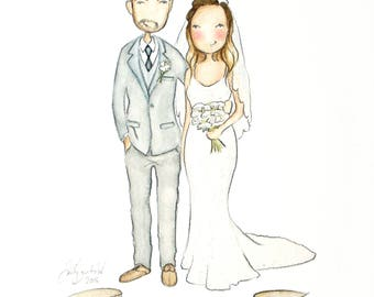 Custom / Personalized Portrait. Adorable Watercolor, Birthday, Anniversary, wedding, graduation, friend (2 people, 1 Lg extra)
