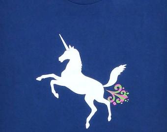 Unicorn - Hilarious Magical Farting Unicorn Mens Navy Blue Graphic T-shirt // Funny Shirt // Edgy Humor // Fantasy