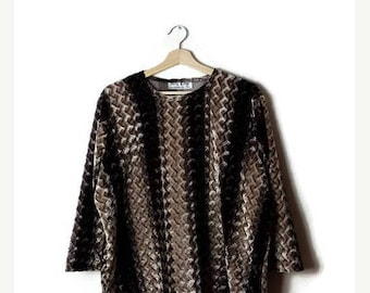 ON SALE Vintage Oversized Beige x Brown Zig Zag Stripe Velour Long sleeve Slouchy Blouse/Top from 1980's*