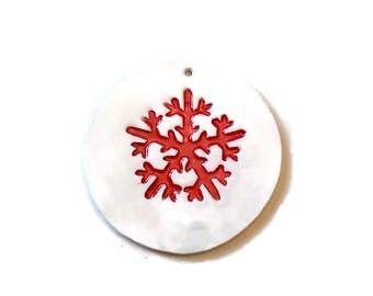 Ceramic snowflake ornament set, Christmas snowflake, snowflake decoration, Christmas decoration, clay snowflake, Christmas tree ornaments