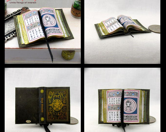 Open Book BLACK GRIMOIRE MAGIC Miniature Book Dollhouse 1:12 Scale Supernatural  Illustrated Spell Magic Wizard Witch Fortune