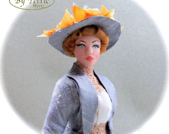 VICTORIAN LADY In Walking Suit 1890 OOAK Porcelain Miniature Doll 1:12 Scale Dollhouse Woman Doll 1 Inch 12th Scale Edwardian Silk Feathers