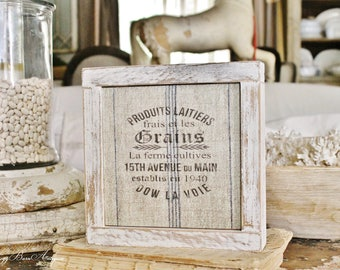 Farmhouse GRAIN SACK Sign Wood Framed Chippy White Farmhouse Decor Fixer Upper Decor Salvaged Barn Wood Mini Sign Blue Stripe