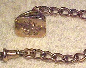 Victorian 9K Rose Gold Watch Chain and Fob With Seal End 1897