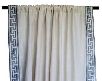 Linen Curtains, Greek Key Curtain, Linen Curtain, Door Curtains, Embroidered Curtains, Custom Gray Curtains, Window Curtain, Door Curtains